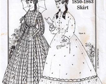 Dell annata storica del 1800 XIX secolo pavimento lunghezza gonna  arricciata o pieghe inferiore balza balza passato Sewing Pattern 10 12 14 16  18 20 eef98ff8a4a