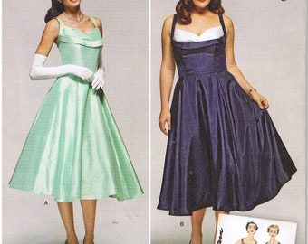 2597db3e21b Vintage 50s 1950s Retro Rockabilly V-Back Dress Bodice Bra Inset Bow Detail  Simplicity 1155 Sewing Pattern Prom Formal Plus 20 22 24 26 28