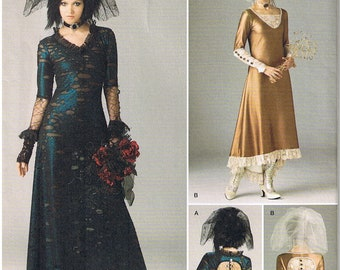 7968b3bdb9 Victorian Era Style Steampunk Gothic Goth Stretch Knit Wedding Dress Gown  Veil Simplicity 1772 Costume Sewing Pattern Size 4 6 8 10 12