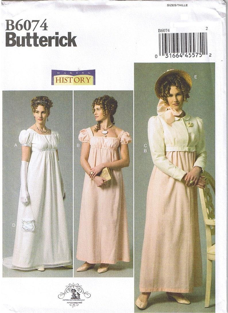 Patron Couture Regency Austen Robe 6074 Mariage Butterick 22 Jane Grande 20 18 Costume Taille De 14 16 Cosplay Veste Historique Empire ARLqj3c54