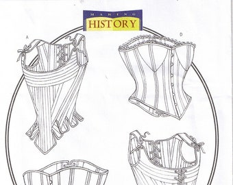 Historical Renaissance Medieval Laced Up Boned Corsets Stays Bustiers Butterick 4254 Plus Size Costume Sewing Pattern 18 20 22