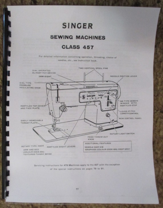 Singer model 301 301a manual sewing machine use care attachments.