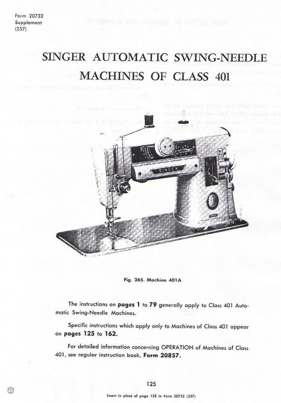 singer class 401 401a swing needle sewing machine service etsy rh etsy com Singer Model 401A singer sewing machine 401a manual download