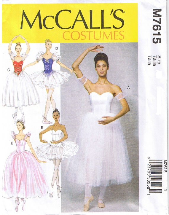 Ballet Ballerina Dance Costume Gathered Full Skirt Tutu Boned Bodice Sleeve  Variations McCalls 7615 Sewing Pattern Plus Size 14 16 18 20 22