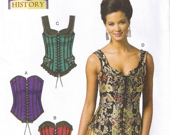 Historical Renaissance Medieval Boned Front Lace Up Corsets Butterick 5662 Sewing Pattern Size 14 16 18 20