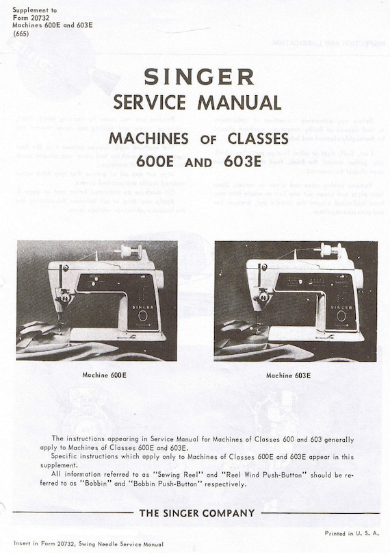 Service manual, singer 600: sewing parts online.