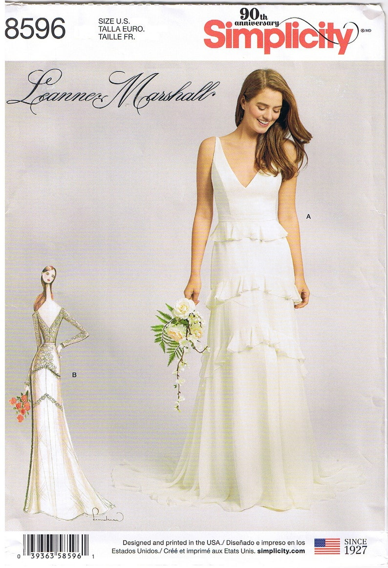 dde69b96da3 Wedding Dress Gown Train Option Flounce Detail Overlay V Neck