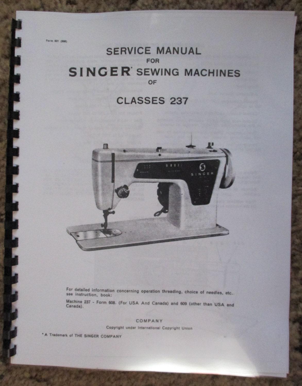Singer 237 Sewing Machine Service Repair Adjusters Manual Book Etsy Wiring Diagram 50