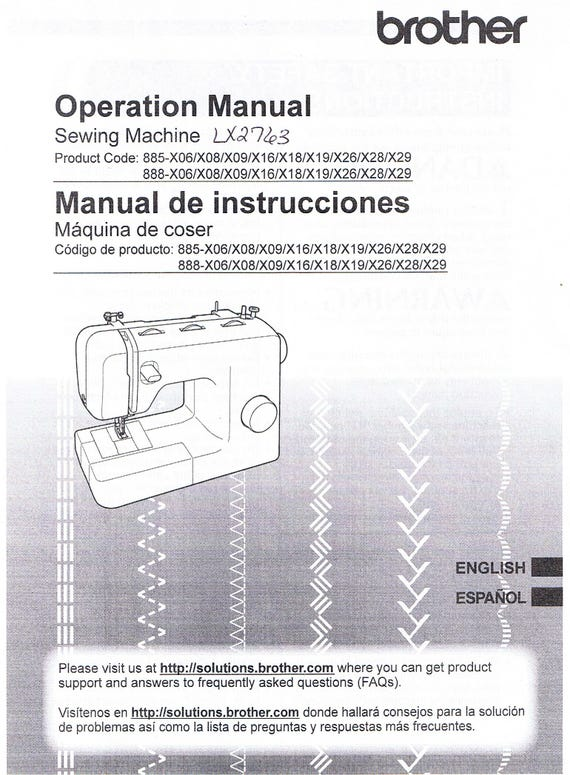 Brother Lx2763 Sm2700 Sm3701 Xl3700 Xm2701 Xm3700 Xr53 Xr3774 Sewing Machine Users Guide Owners Operating Instruction Manual Book
