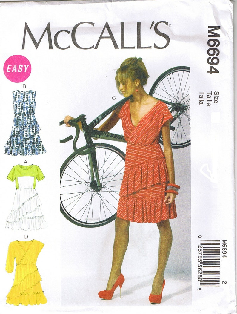Easy Raised Waist Pullover Mock Wrap Dress McCalls Sewing Pattern 14 16 18 20 22