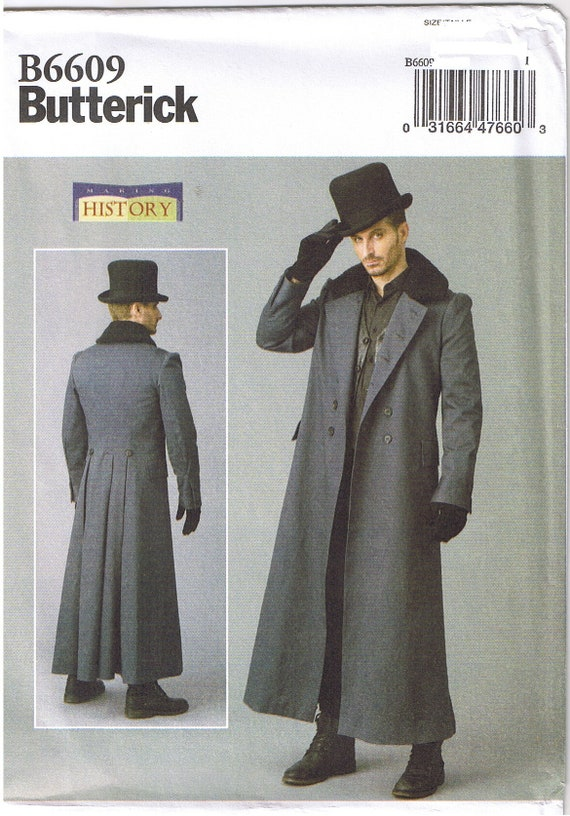Men Historical Victorian Double Breasted Coat Costume Sewing Pattern 38 40 42 44