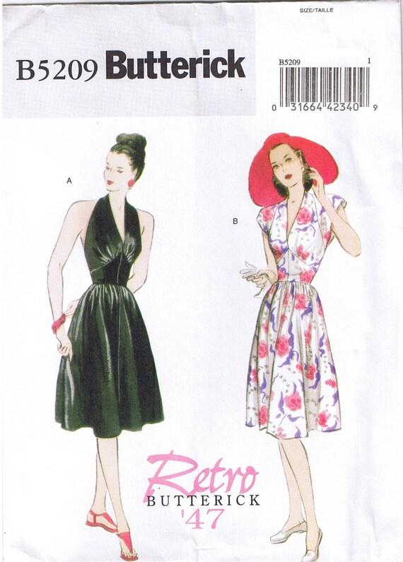 Easy Vintage 1940s 40s Retro Halter or Cap Sleeve Dress Flared | Etsy