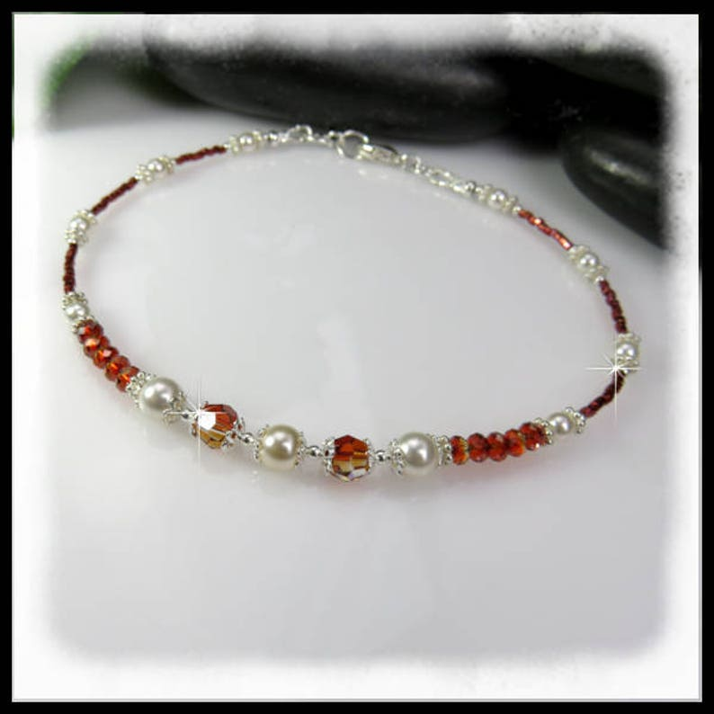 2189 Red Magma crystals anklet Red crystals and white pearls image 0