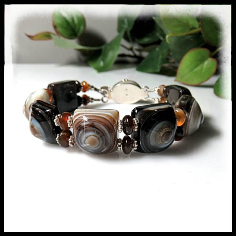 1633B Brown and Black Banded Agate Bracelet Banded Agate image 0