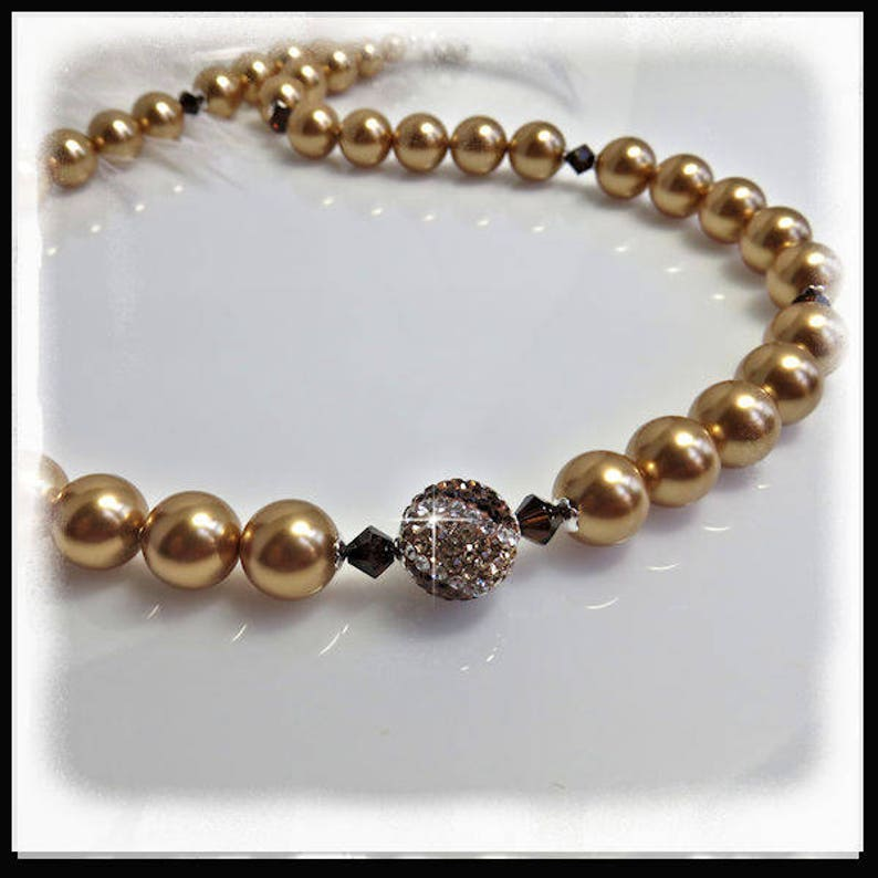 2137N Bright Gold Pearls Necklace Crystal and Pave Jewelry image 0