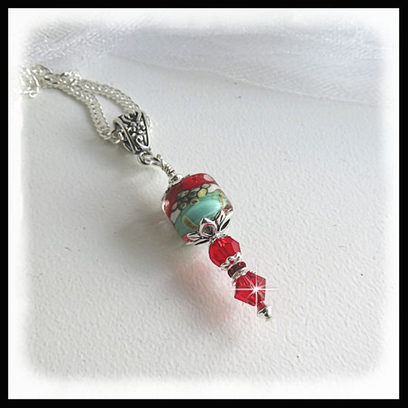 2452. Teal and red necklace Red crystals gifts for her red image 0