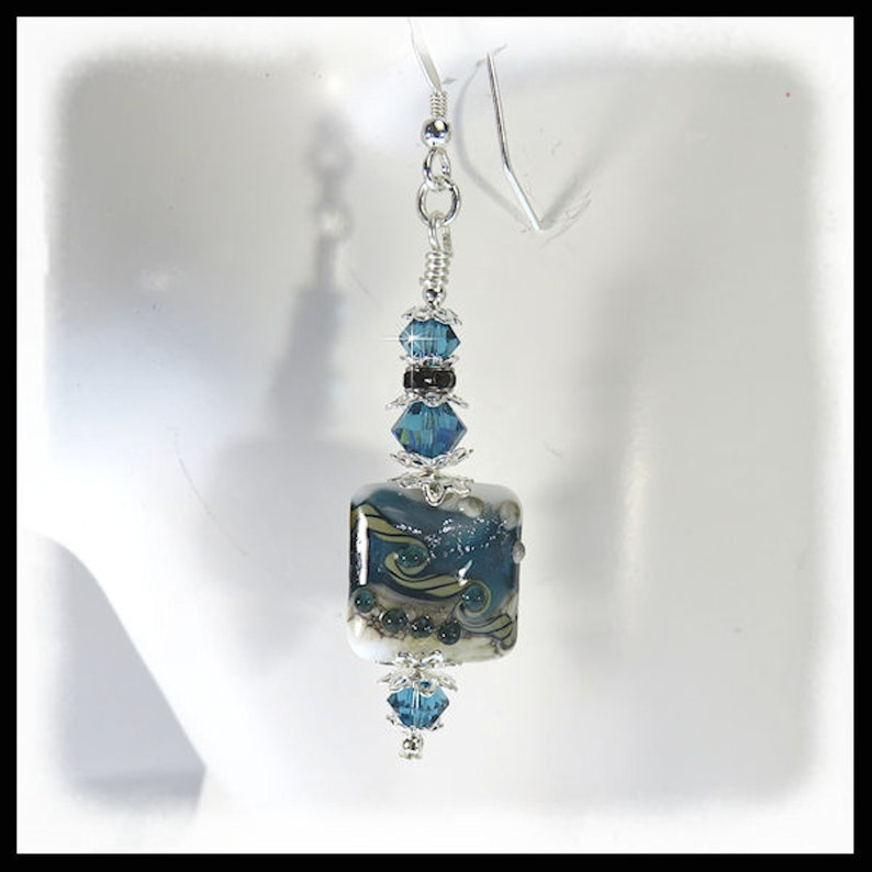 2435 Blue Skys Blue lampwork earrings Blue white tan image 0