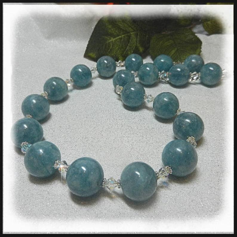 1997N Aquamarine Necklace Turquoise gemstones aquamarine image 0