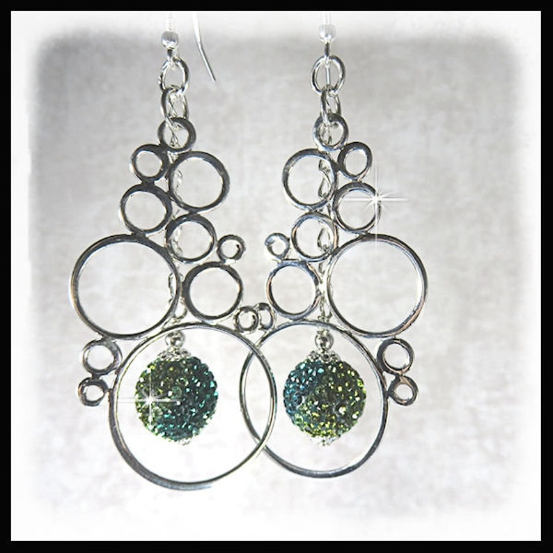 2237 Teal and green earrings sterling silver bubbles image 0