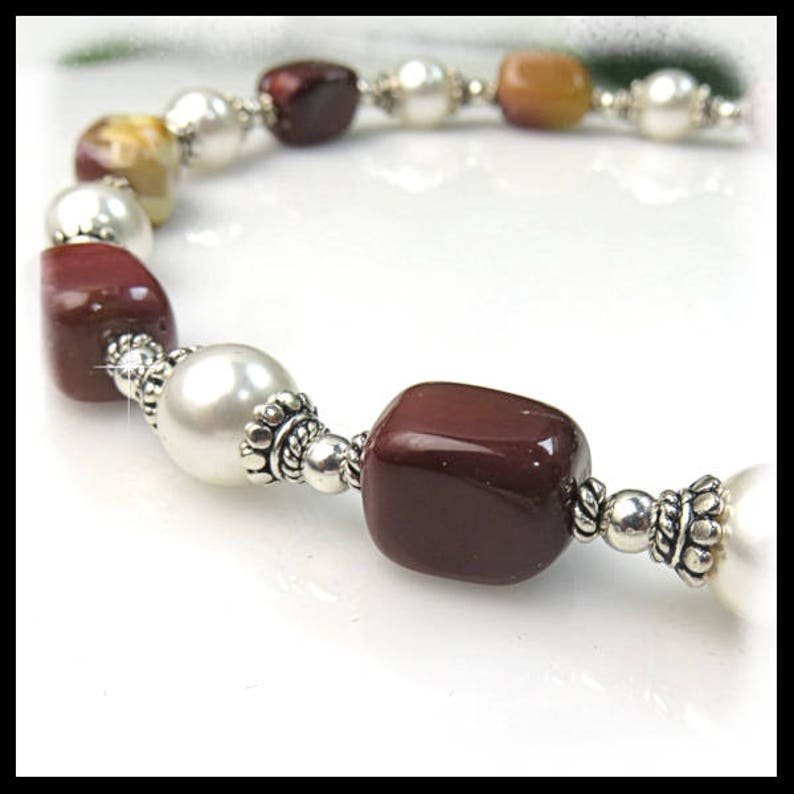1794N Mookaite Nuggets and White Swarovski Pearls Necklace image 0