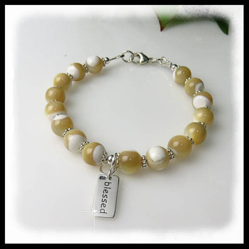 2205 Mother of Pearl Bracelet Tan and White Jewelry Blessed image 0