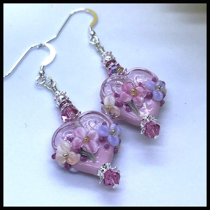 2460 Pink Valentine Earrings Pink Heart Earrings Floral image 0