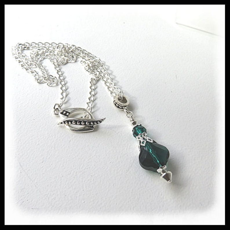 2453 May birthstone jewelry Emerald  crystal necklace image 0