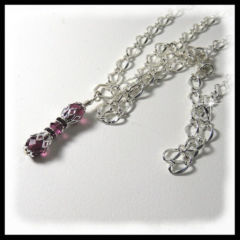 2422N Amethyst Crystal Birthstone necklace February image 0
