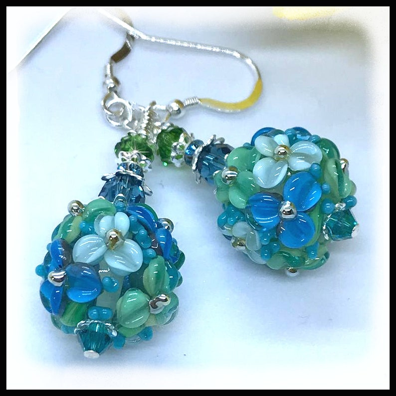 2491 Caribbean colored earrings floral lampwork earrings image 0