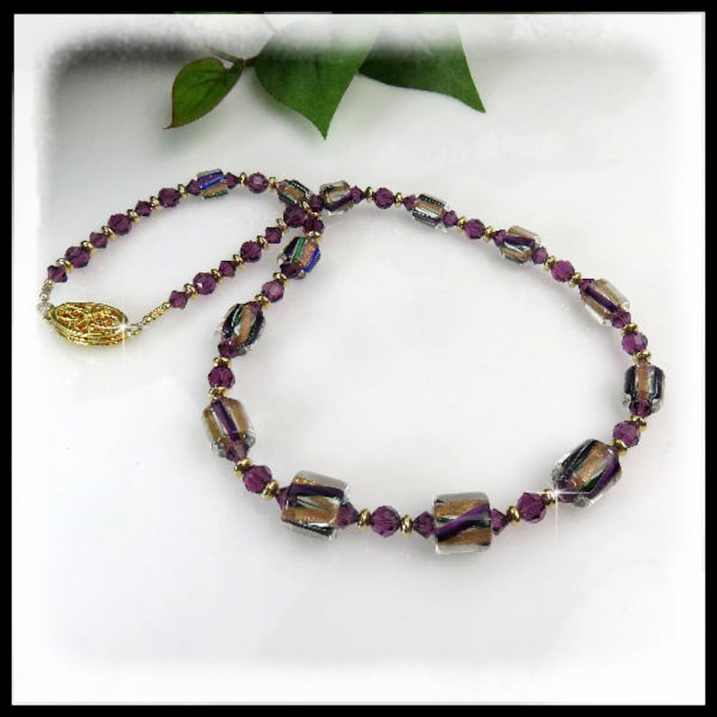 2111N Purple and gold David Christensen beaded necklace image 0