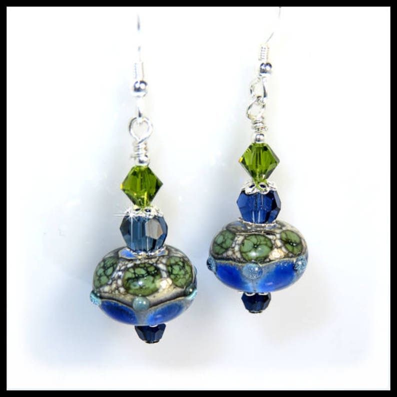 2257 Green and Blue lampwork glass beads with Dark Indigo and image 0
