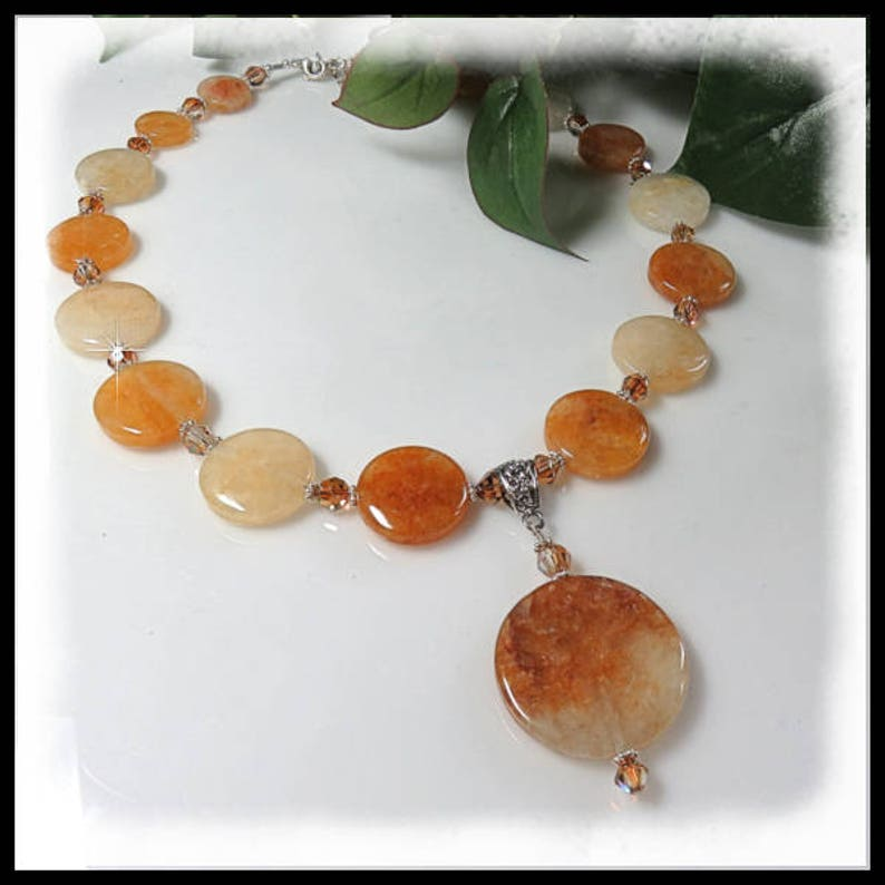 1550 Citrine necklace with pendant Yellow Citrine necklace image 0