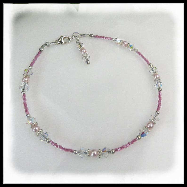 2104 Pink seed crystal anklets crystal and pearl anklets image 0