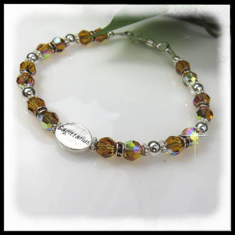 2129 crystal birthstone bracelet Sagittarius bracelet image 0