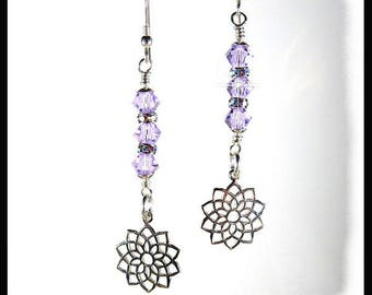 2312E, Violet Crown Chakra earrings, Crown Chakra jewelry, Violet Swarovski crystal earrings, handmade Chakra earrings