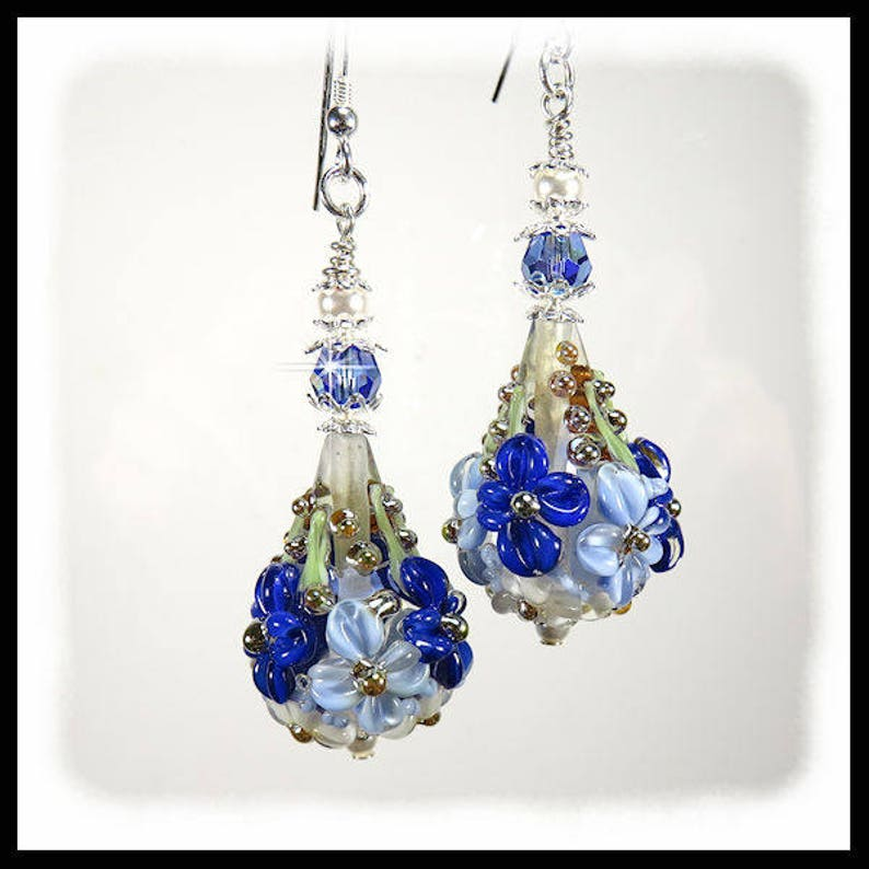2376 Blue Flower earrings blue floral earrings blue image 0