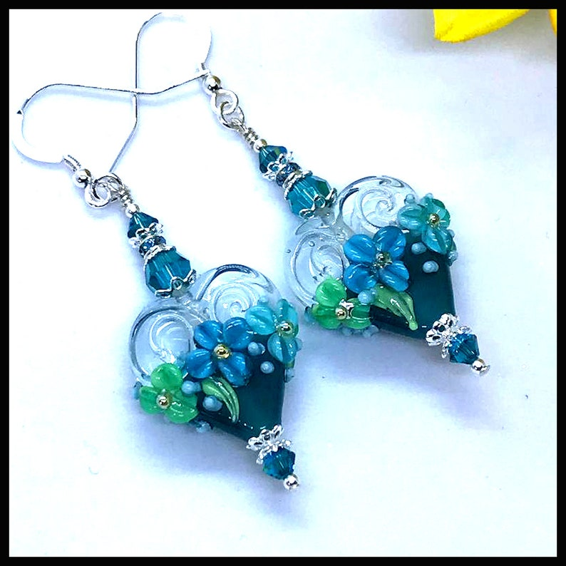 2462E Teal Floral heart earrings flower earrings lampwork image 0