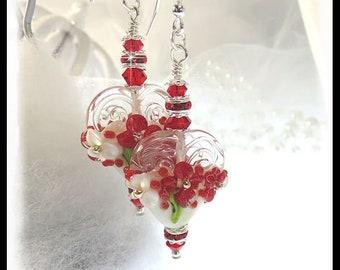2391, Red heart earrings, Floral heart earrings, Flower earrings, Red earrings, lampwork hearts, beaded earrings, beaded jewelry, prom