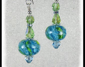 Green and Aquamarine lampwork glass earrings with Peridot and Aqua crystals, green earrings, teal earrings, artisan lampwork glass beads