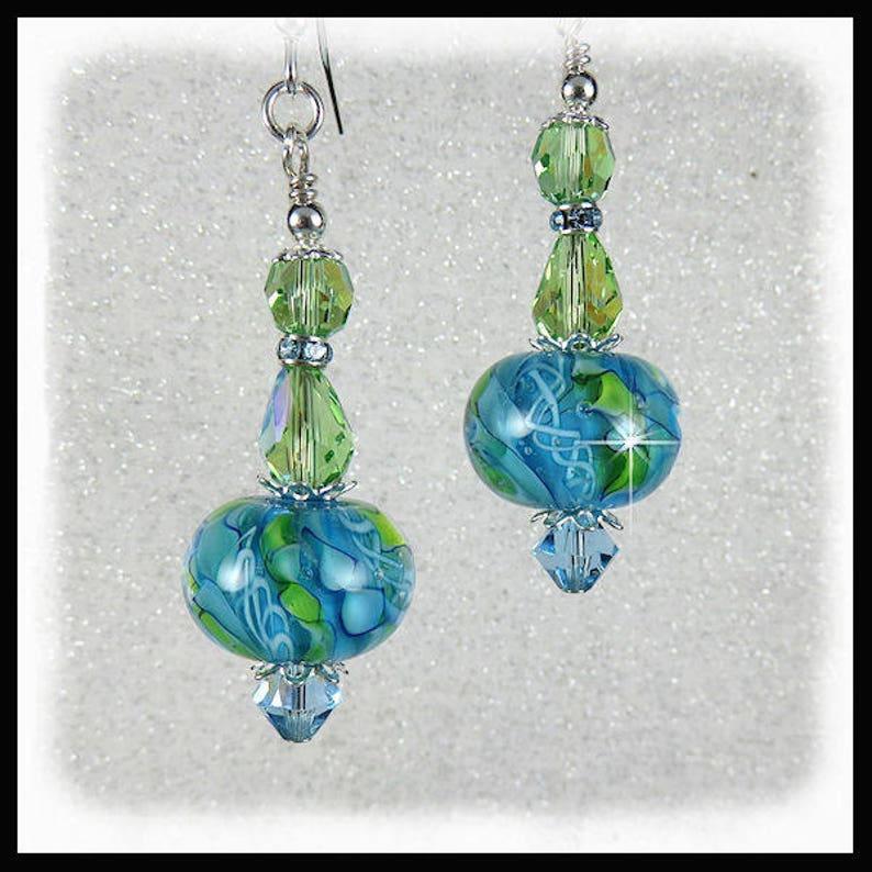 2260 Green  Aquamarine lampwork glass earrings with Peridot image 0