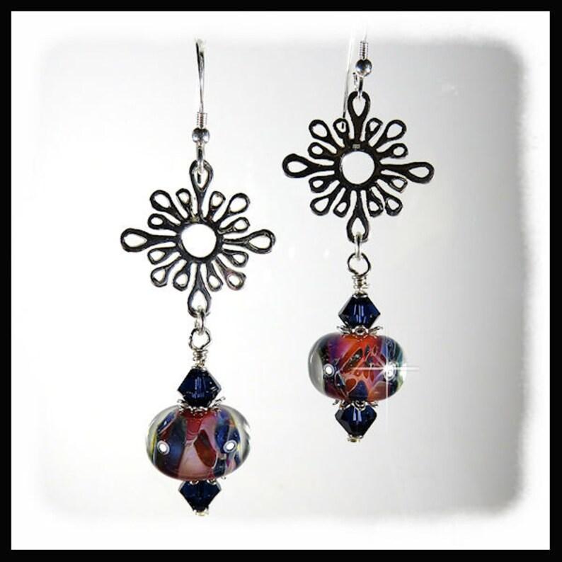2325 Boro Glass earrings Navy Blue earrings Dangles image 0