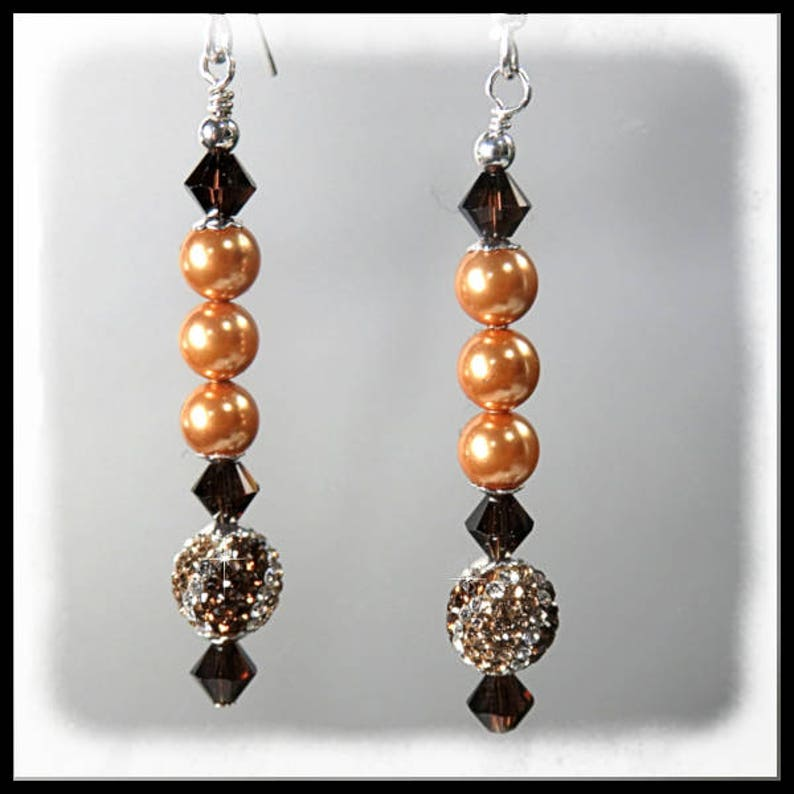 2180 Bright Gold Pearl Earrings Crystal and Pave Earrings image 0