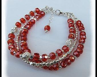 2179b Orange Red Cubic Zirconia Bracelet Multi-strand jewelry, Sterling Silver, Orange jewelry, Beaded bracelets, Handmade, Handcrafted