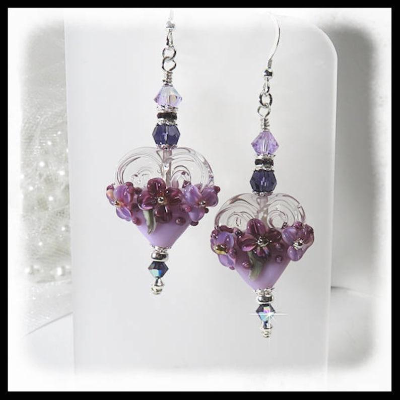 2421 Purple heart floral earrings purple earrings heart image 0
