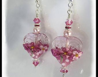 2389, Pink floral earrings, pink lampwork earrings, artisan lampwork earrings, Valentine's Day gifts, Valentine's Day earrings, 2389