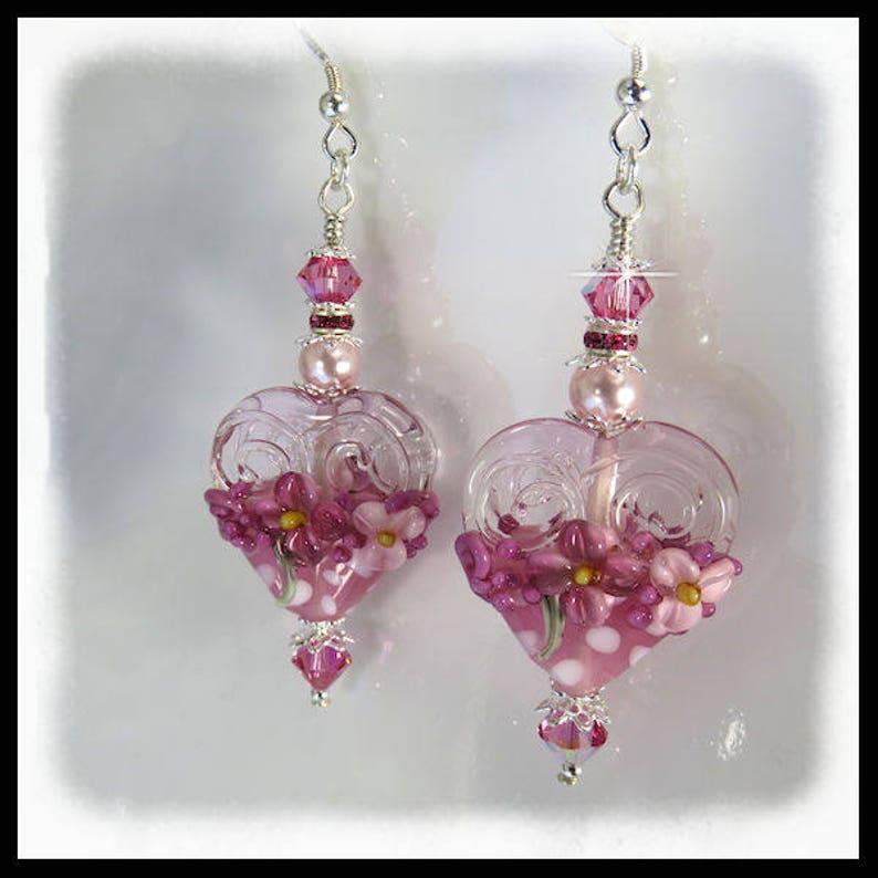 2389 Pink floral earrings pink lampwork earrings artisan image 0