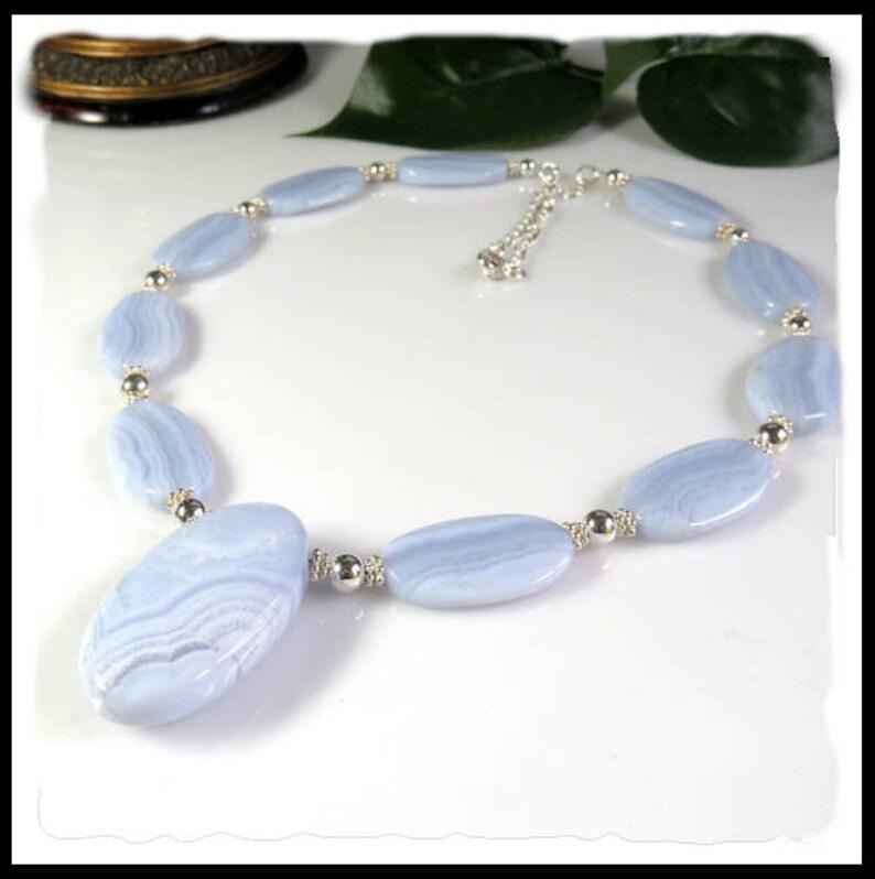 2170 Blue Lace Agate Necklace with Pendant Light Blue image 0