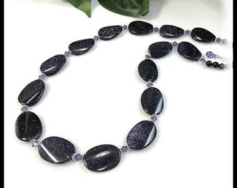 2003, Shimmering Blue Goldstone Necklace with lavender crystals, Tanzanite crystals, Blue Goldstone gemstone, Purple jewelry, Blue jewelry