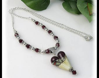 2201,Red Lampwork Heart Necklace, with Siam Swarovski Crystals and Sterling Silver, Valentine necklace, Red Crystals and Red and Cream Heart