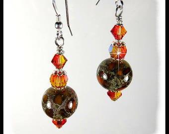 Animal Print earrings, brown and rust lampwork beads, Brown and orange earrings, orange crystal earrings,